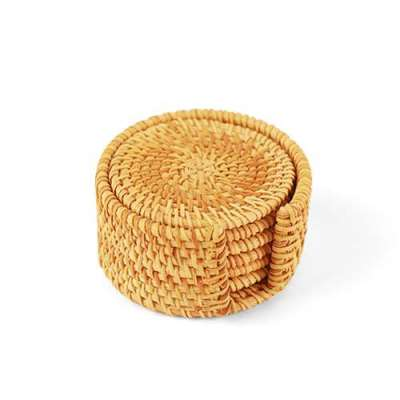 Set Round Brown Rattan Coaster